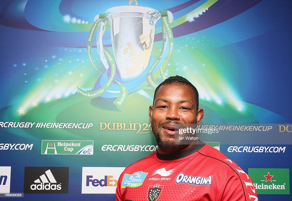 <a gi-track='captionPersonalityLinkClicked' href=/galleries/search?phrase=Steffon+Armitage&family=editorial&specificpeople=2441242 ng-click='$event.stopPropagation()'>Steffon Armitage</a> speaks to the press during a media session to preview the Heineken Cup semi final match between Saracens and Toulon at Twickenham Stadium on April 18, 2013 in London, England.