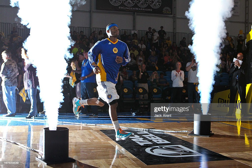 Stefhon Hannah #13 of the Santa Cruz Warriors is introduced to play against the Rio Grande Valley Vipers during Game One of the D-League Championship on April 25, 2013 at Kaiser Permanente Arena in Santa Cruz, California.