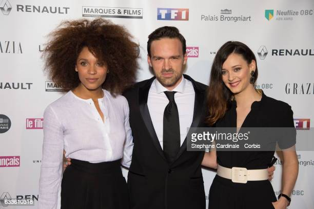 Stefi Celma Alban Lenoir and Anne Serra attend the 'Trophees Du Film Francais' 24th Ceremony at Palais Brongniart on February 2 2017 in Paris France