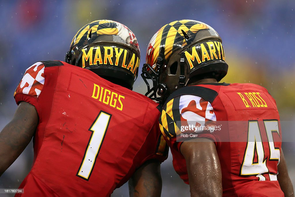 <a gi-track='captionPersonalityLinkClicked' href=/galleries/search?phrase=Stefon+Diggs&family=editorial&specificpeople=6786164 ng-click='$event.stopPropagation()'>Stefon Diggs</a> #1 and Brandon Ross #45 of the Maryland Terrapins celebrate after Ross rushed for a touchdown against the West Virginia Mountaineers at M&T Bank Stadium on September 21, 2013 in Baltimore, Maryland.