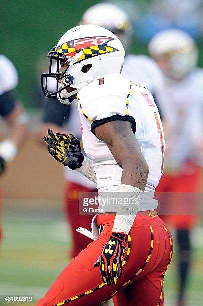 Stefon Diggs of the Maryland Terrapins celebrates during the game against the Wake Forest Demon Deacons at BBT Field on October 19 2013 in Winston...