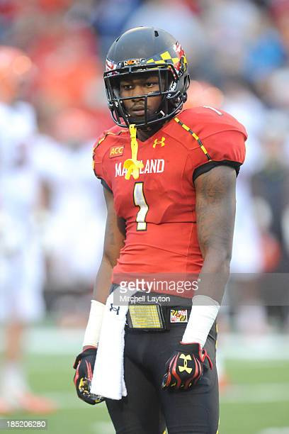Stefon Diggs of the Maryland Terrapins looks on during a college football game against the Virginia Cavaliers on October 12 2013 at Capital One Field...