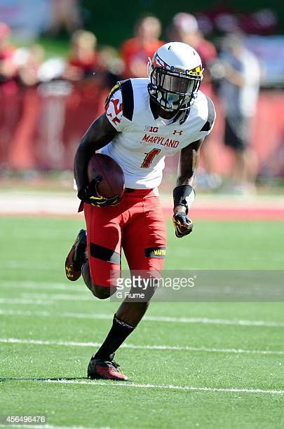 Stefon Diggs of the Maryland Terrapins returns a kick against the Indiana Hoosiers at Memorial Stadium on September 27 2014 in Bloomington Indiana