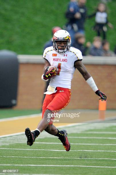 Stefon Diggs of the Maryland Terrapins returns a kick against the Wake Forest Demon Deacons at BBT Field on October 19 2013 in Winston Salem North...