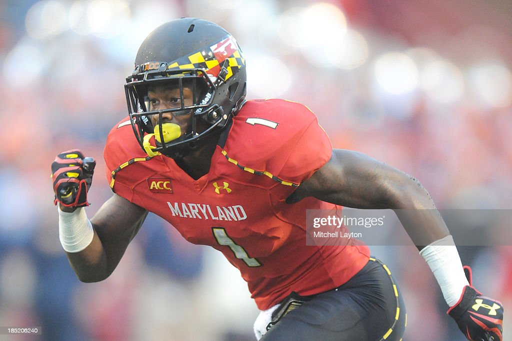 <a gi-track='captionPersonalityLinkClicked' href=/galleries/search?phrase=Stefon+Diggs&family=editorial&specificpeople=6786164 ng-click='$event.stopPropagation()'>Stefon Diggs</a> #1 of the Maryland Terrapins runs down field during a college football game against the Virginia Cavaliers on October 12, 2013 at Capital One Field at Byrd Stadium in College Park, Maryland. The Terrapins won 27-26.