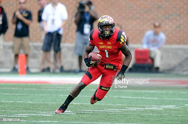 Stefon Diggs of the Maryland Terrapins runs with the ball against the Ohio State Buckeyes at Byrd Stadium on October 4 2014 in College Park Maryland