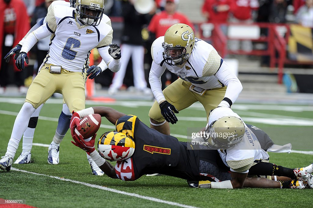 Stefon Diggs #1 of the Maryland Terrapins scores a touchdown against the Georgia Tech Yellow Jackets at Byrd Stadium on November 3, 2012 in College Park, Maryland.