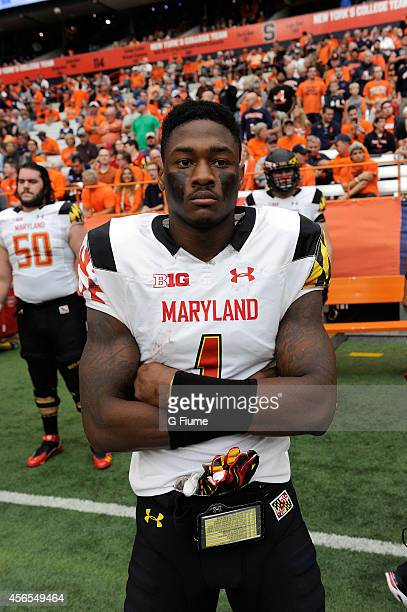 Stefon Diggs of the Maryland Terrapins stands on the sideline before the game against the Syracuse Orange at the Carrier Dome on September 20 2014 in...