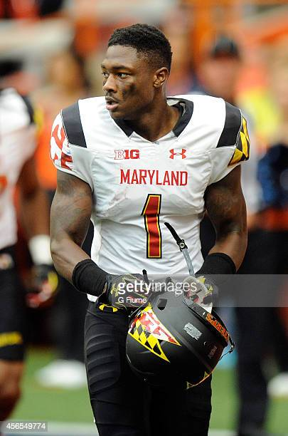 Stefon Diggs of the Maryland Terrapins walks to the sideline during the game against the Syracuse Orange at the Carrier Dome on September 20 2014 in...