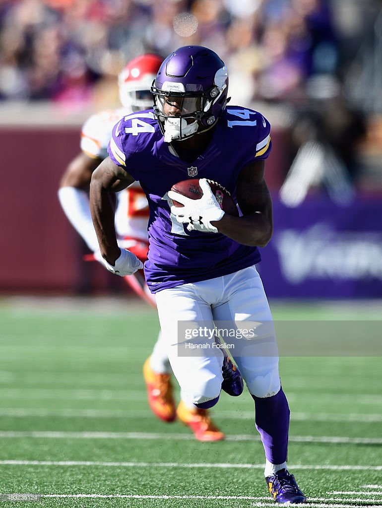 <a gi-track='captionPersonalityLinkClicked' href=/galleries/search?phrase=Stefon+Diggs&family=editorial&specificpeople=6786164 ng-click='$event.stopPropagation()'>Stefon Diggs</a> #14 of the Minnesota Vikings carries the ball against the Kansas City Chiefs during the first quarter of the game on October 18, 2015 at TCF Bank Stadium in Minneapolis, Minnesota.