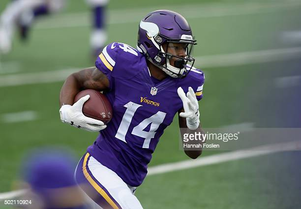 Stefon Diggs of the Minnesota Vikings carries the ball against the Chicago Bears during the third quarter of the game on December 20 2015 at TCF Bank...