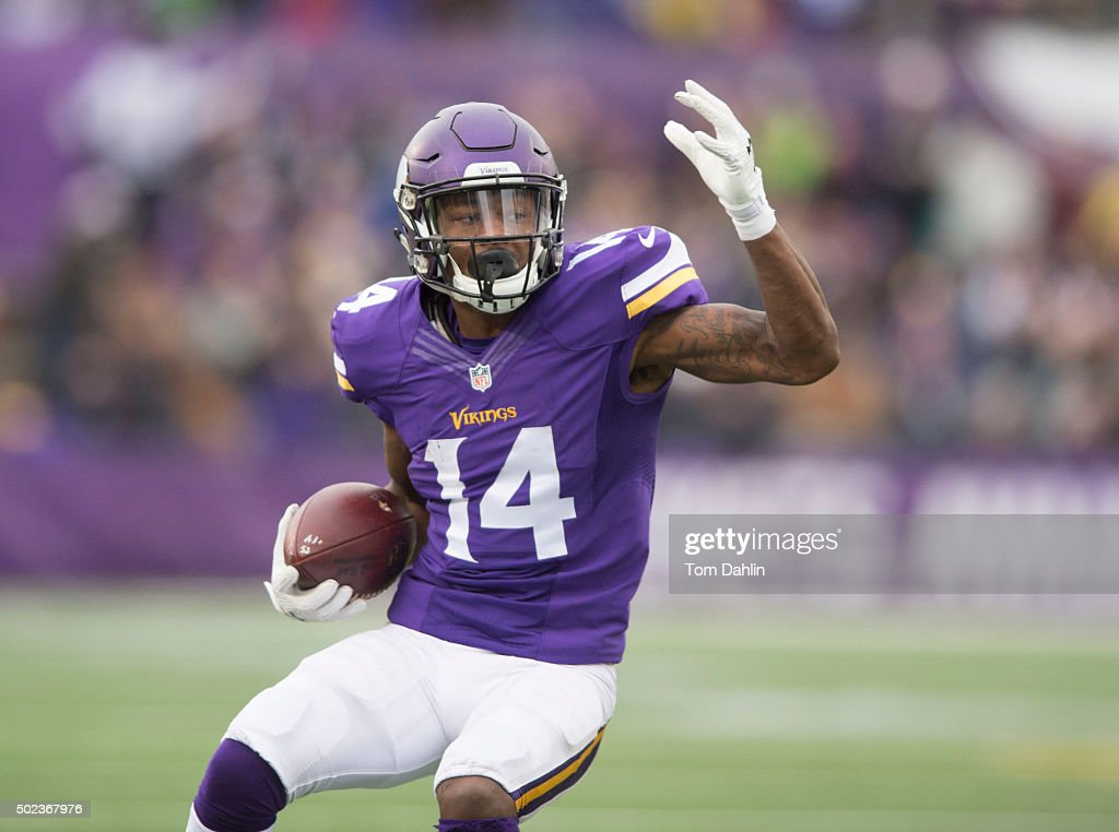 Stefon Diggs #14 of the Minnesota Vikings carries the ball during an NFL game against the Chicago Bears at TCF Bank Stadium December 20, 2015 in Minneapolis, Minnesota.