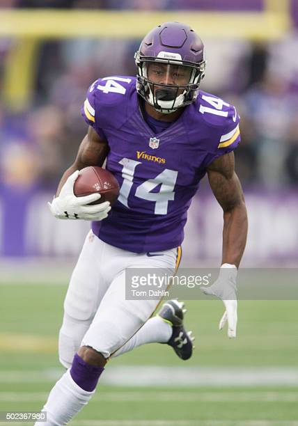 Stefon Diggs of the Minnesota Vikings carries the ball during an NFL game against the Chicago Bears at TCF Bank Stadium December 20 2015 in...