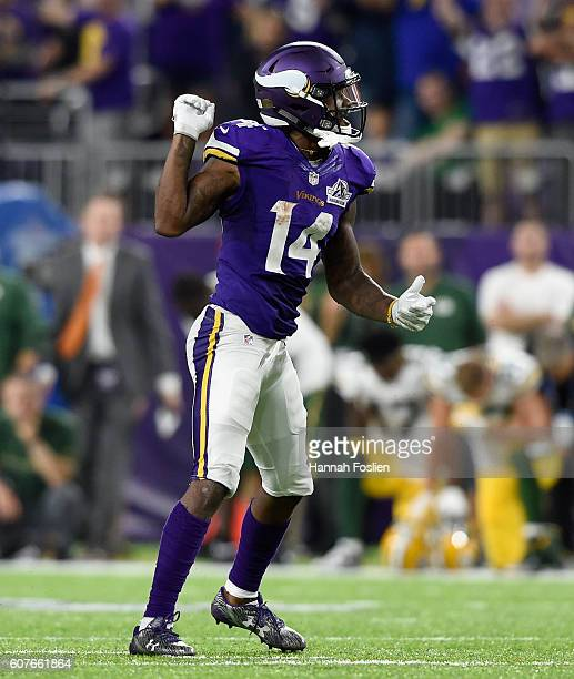 Stefon Diggs of the Minnesota Vikings celebrates a pass interference call during the fourth quarter of the game against the Green Bay Packers on...
