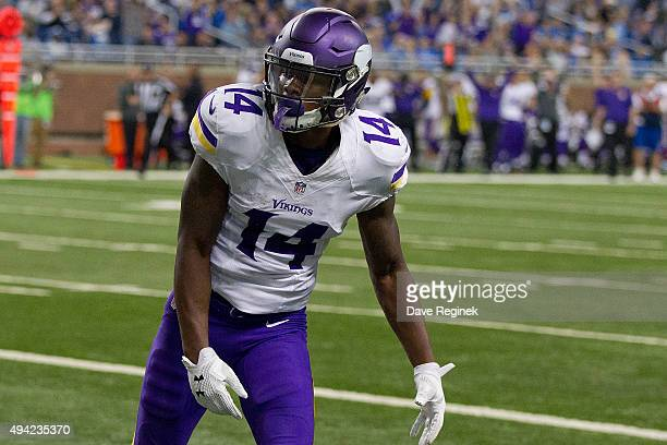 Stefon Diggs of the Minnesota Vikings celebrates a third quarter touchdown against the Detroit Lions during an NFL game at Ford Field on October 25...
