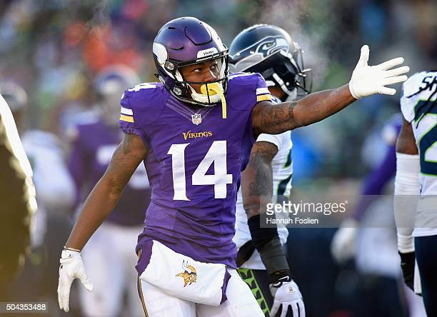 Stefon Diggs of the Minnesota Vikings gestures in the first half against the Seattle Seahawks during the NFC Wild Card Playoff game at TCFBank...