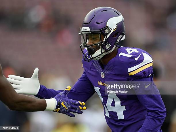 Stefon Diggs of the Minnesota Vikings greets a teammate before the game against the Chicago Bears on December 20 2015 at TCF Bank Stadium in...