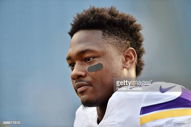 NASHVILLE TN SEPTEMBER 03 Stefon Diggs of the Minnesota Vikings looks on before a NFL preseason game against the Tennessee Titans at Nissan Stadium...