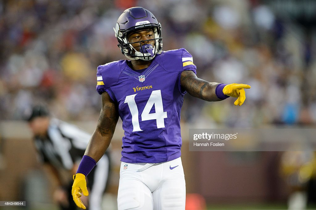 <a gi-track='captionPersonalityLinkClicked' href=/galleries/search?phrase=Stefon+Diggs&family=editorial&specificpeople=6786164 ng-click='$event.stopPropagation()'>Stefon Diggs</a> #14 of the Minnesota Vikings looks on during the preseason game against the Tampa Bay Buccaneers on August 15, 2015 at TCF Bank Stadium in Minneapolis, Minnesota. The Vikings defeated the Buccaneers 26-16.