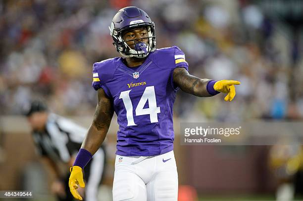 Stefon Diggs of the Minnesota Vikings looks on during the preseason game against the Tampa Bay Buccaneers on August 15 2015 at TCF Bank Stadium in...