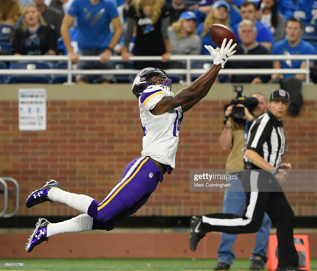 Stefon Diggs #14 of the Minnesota Vikings makes a leaping touchdown catch in the third quarter of the game against the Detroit Lions at Ford Field on October 25, 2015 in Detroit, Michigan. The Vikings defeated the Lions 28-19.