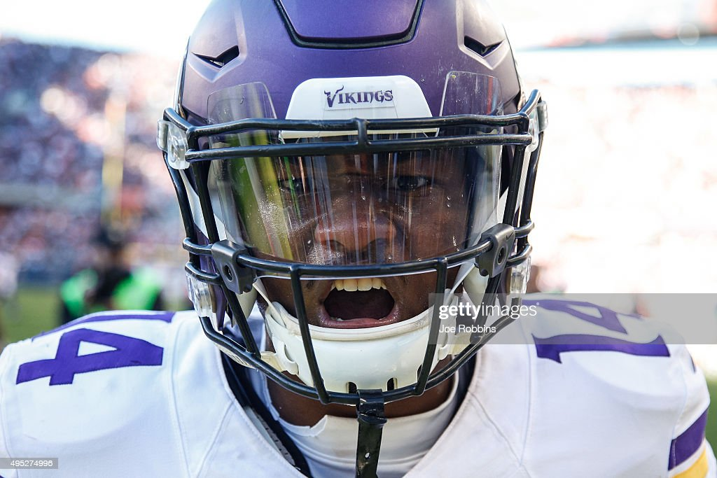 Stefon Diggs #14 of the Minnesota Vikings reacts after scoring a touchdown in the fourth quarter against the Chicago Bears at Soldier Field on November 1, 2015 in Chicago, Illinois. The Minnesota Vikings defeat the Chicago Bears 23-20.