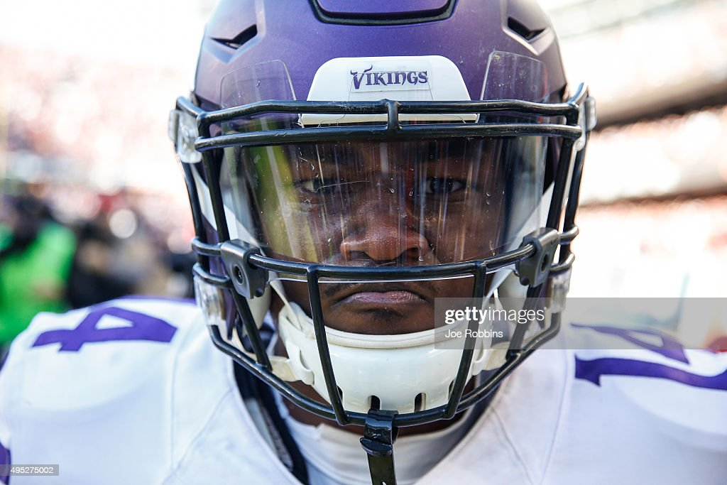 <a gi-track='captionPersonalityLinkClicked' href=/galleries/search?phrase=Stefon+Diggs&family=editorial&specificpeople=6786164 ng-click='$event.stopPropagation()'>Stefon Diggs</a> #14 of the Minnesota Vikings reacts after scoring a touchdown in the fourth quarter against the Chicago Bears at Soldier Field on November 1, 2015 in Chicago, Illinois. The Minnesota Vikings defeat the Chicago Bears 23-20.