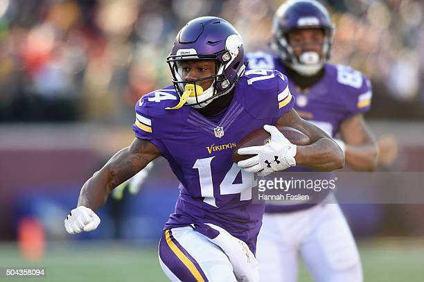 Stefon Diggs of the Minnesota Vikings runs with the ball in the third quarter against the Seattle Seahawks during the NFC Wild Card Playoff game at...