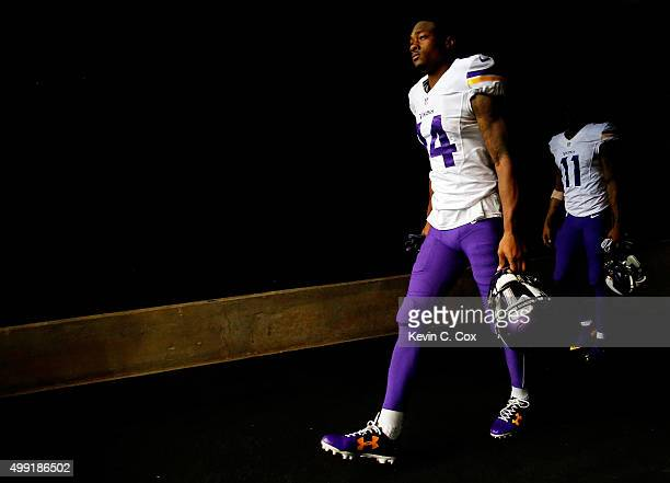 Stefon Diggs of the Minnesota Vikings walks on the field prior to the game against the Atlanta Falcons at the Georgia Dome on November 29 2015 in...
