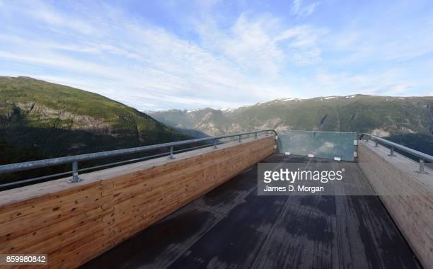 Stegastein observatory point based in Norwegian fjordland on February 8th 2017 in Norway