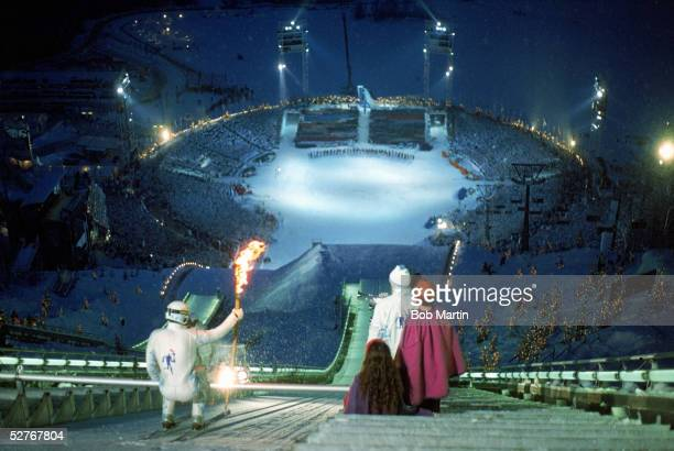 Stein Gruben starts his descent with the Olympic torch during the XVII Olympic Winter Games in Lillehammer Norway on February 12 1994