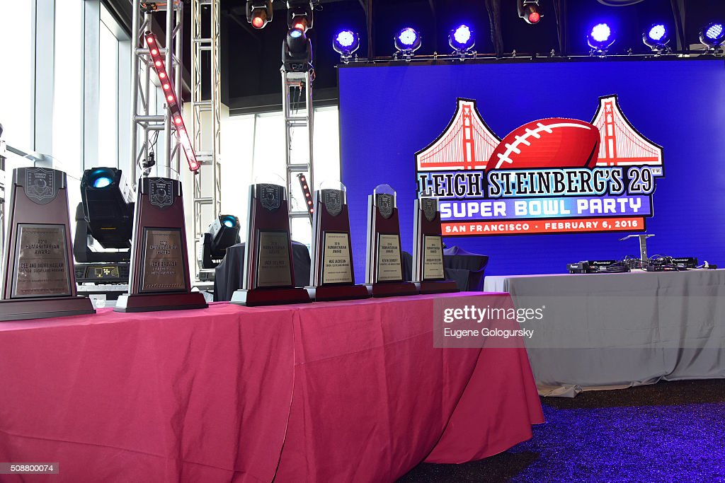 Steinberg DeNicola Awards on display during the 29th Annual Leigh Steinberg Super Bowl Party on February 6, 2016 in San Francisco, California.