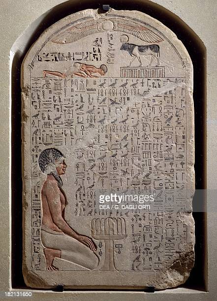 Stele of Apis bull painted limestone from the Serapeum at Memphis Egyptian civilisation Third Intermediate Period Dynasty XXI Paris Musée Du Louvre