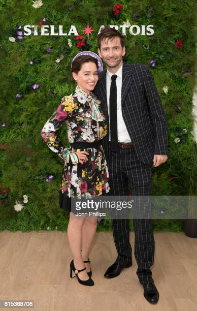 Stella Artois hosts Emilia Clarke and David Tennant at The Championships Wimbledon as official beer of the tournament at Wimbledon on July 16 2017 in...