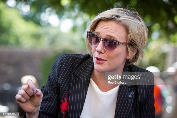 Stella Creasy MP for Walthamstow speaks to members of the public outside the Houses of Parliament in Westminster on June 17 2015 in London England...