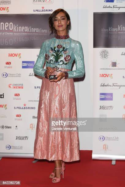 Stella Egitto poses with the award at the Kineo Diamanti Awards during the 74th Venice Film Festival at Excelsior Hotel on September 3 2017 in Venice...