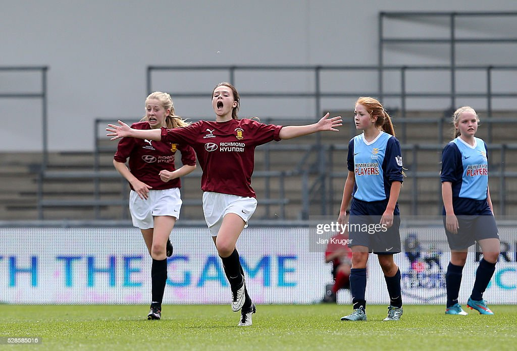 Stella Gandee Morgan of Kings' School celebrates her goal during the Premier League U16 Schools Cup For Girls final between St Bede's School and Kings' School at the Etihad Campus on May 06, 2016 in Manchester, England.