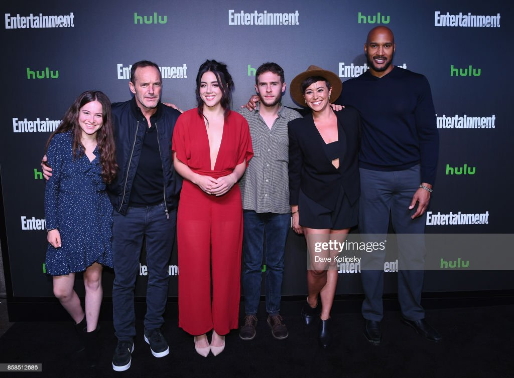 Stella Gregg, Clark Gregg, Chloe Bennet, Ian De Caestecker, Briana Venskus and Henry Simmons attend Hulu's New York Comic Con After Party at The Lobster Club on October 6, 2017 in New York City.