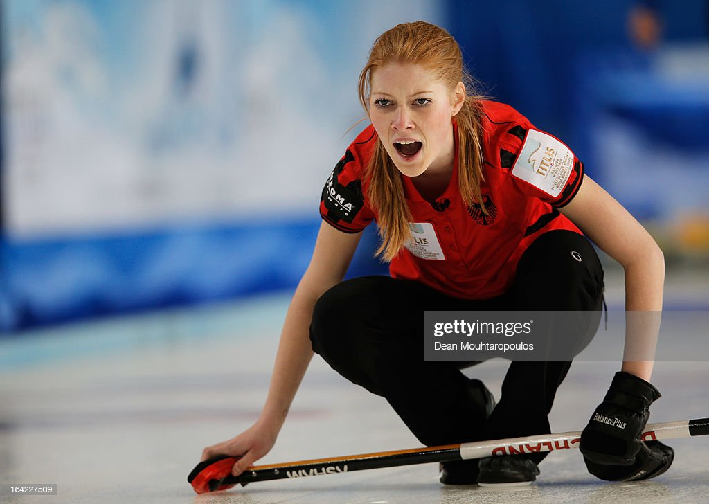 Stella Heiss of Germany screams instructions after she throws a stone in the match between Germany and Sweden on Day 6 of the Titlis Glacier Mountain...