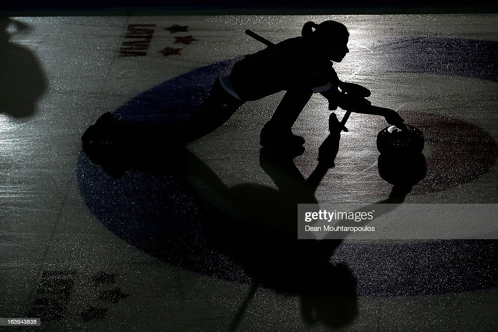 Stella Heiss of Germany throws the stone in the match between Japan and Germany during Day 3 of the Titlis Glacier Mountain World Women's Curling Championship at the Volvo Sports Centre on March 18, 2013 in Riga, Latvia.