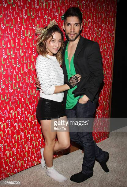 Stella Maeve and Dean Roybal attend Tacky Christmas Tree skirt party hosted by James Costa on December 16 2010 in Los Angeles California
