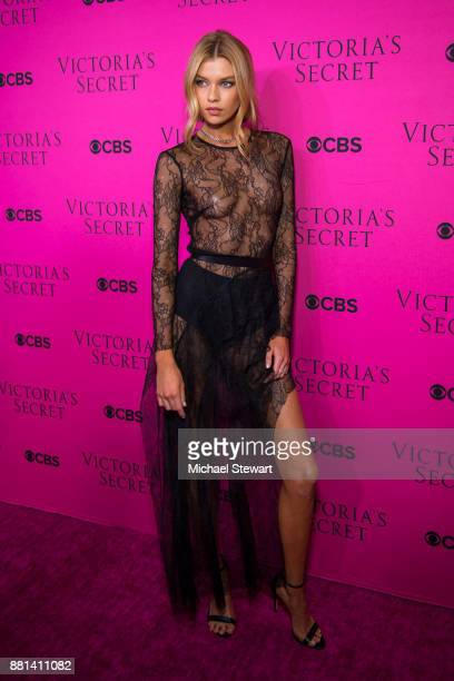 Stella Maxwell attends the 2017 Victoria's Secret Fashion Show viewing party pink carpet at Spring Studios on November 28 2017 in New York City