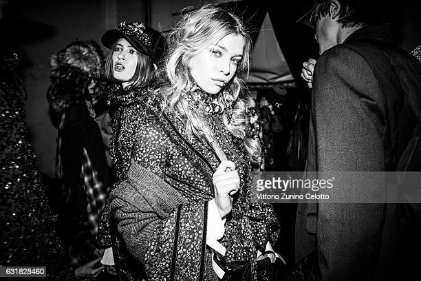 Stella Maxwell is seen backstage ahead of the Dsquared2 show during Milan Men's Fashion Week Fall/Winter 2017/18 on January 15 2017 in Milan Italy