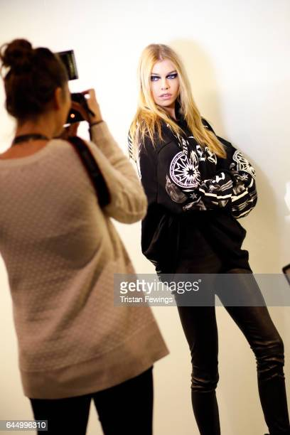 Stella Maxwell is seen backstage ahead of the Versace show during Milan Fashion Week Fall/Winter 2017/18 on February 24 2017 in Milan Italy