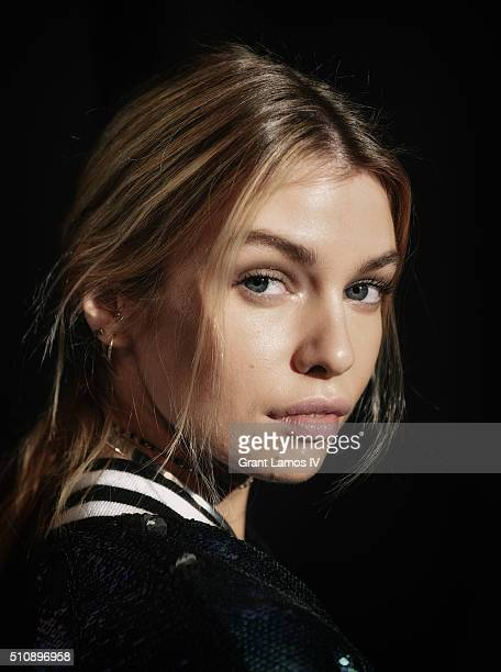 Stella Maxwell poses backstage at the Tommy Hilfiger Women's Fall 2016 show during New York Fashion Week The Shows at Park Avenue Armory on February...
