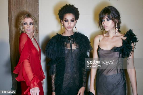 Stella Maxwell Samile Bermannelli and Georgia Fowler seen backstage ahead of the Alberta Ferretti show during Milan Fashion Week Fall/Winter 2017/18...