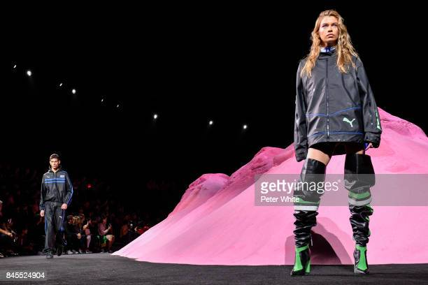 Stella Maxwell walks the runway at the Fenty Puma By Rihanna fashion show during New York fashion week at Park Avenue Armory on September 10 2017 in...