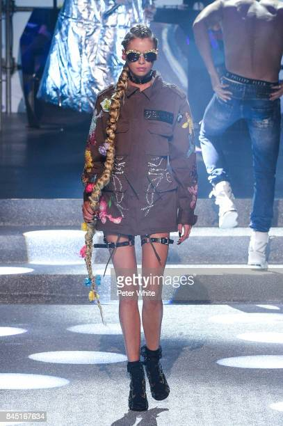 Stella Maxwell walks the runway at the Philipp Plein fashion show during New York Fashion Week The Shows at Hammerstein Ballroom on September 9 2017...