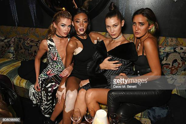 Stella Maxwell Winnie Harlow Bella Hadid and Jesse Jo Stark attend the LOVE Magazine and Marc Jacobs LFW Party to celebrate LOVE 165 collector's...