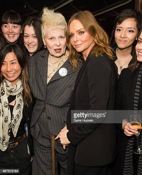 Stella McCartney and Dame Vivienne Westwood attend a Stella McCartney interview with Imran Amed of The Business of Fashion on March 25 2015 in London...